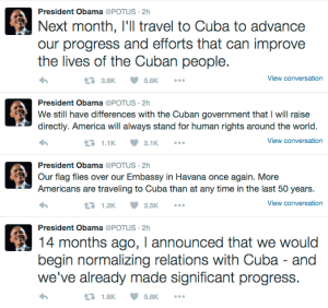 Barack Obama posted a series of tweets about his planned Cuba trip on Feb. 18, 2016.