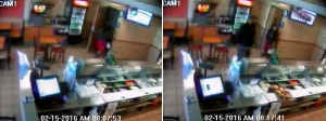 Surveillance video released by West Covina police showed a woman going into a Subway bathroom then leaving 10 minutes later on Feb. 15, 2016. Police said she gave birth, and a baby was recovered.