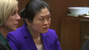 """Hsiu-Ying """"Lisa"""" Tseng appears in court to hear the jury's verdict in her murder trial in October 2015. (Credit: KTLA)"""