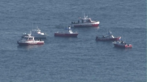 Firefighters responded to a report of a plane down in the water off San Pedro on Feb. 5, 2016. (Credit: KTLA)