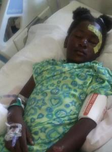 DeAsha Butts was hospitalized after being struck by a hit-and-run driver in Riverside County. (Credit: Kim Thompson)