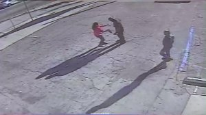 Surveillance video captured a deadly confrontation between two 7-Eleven employees and an alleged shoplifter on March 25, 2016 in Valley Village. (Credit: KTLA)