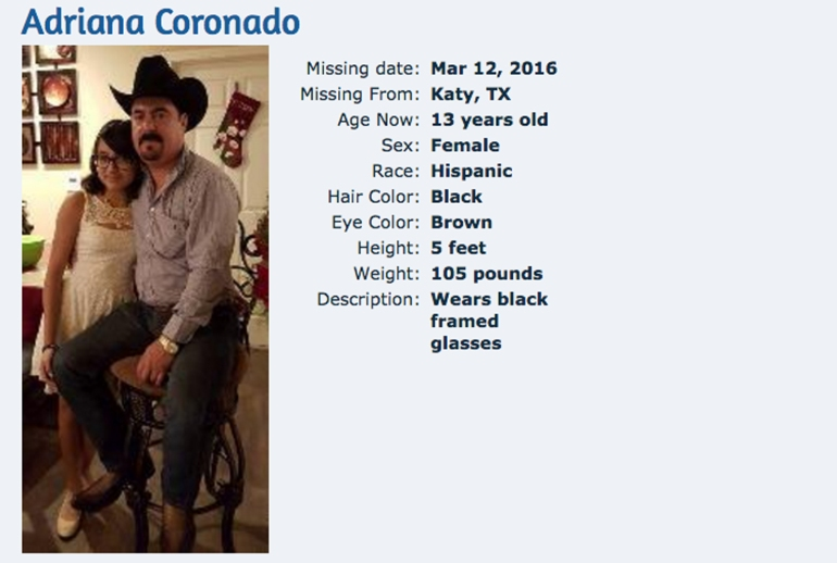 Adriana Coronado is seen in a flier put out by the National Center for Missing & Exploited Children.