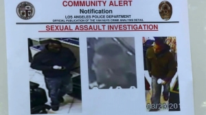 LAPD displayed these images of a man who sexually assaulted a woman in Van Nuys on March 29, 2016. (Credit: KTLA)