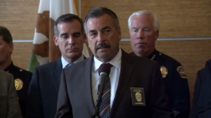 LAPD Chief Charlie Beck talks about public safety on March 22, 2016, in the wake of the Brussels attacks. (Credit: KTLA)