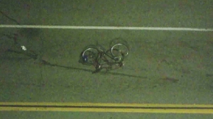 A bicyclist was hospitalized after being struck in East Los Angeles on March 2, 2016. (Credit: KTLA)
