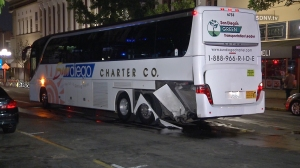 An Uber driver was suspected of DUI after crashing into a party bus in San Diego on March 2, 2016. (Credit: SDNV.tv)