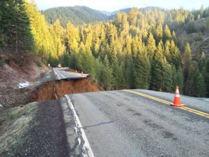 State Route 3 in Trinity County collapsed, as shown in this Caltrans District 2 photo posted March 15, 2016.