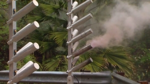 A cloud-seeding generator works in the foothills of the Pasadena area on March 11, 2016. (Credit: KTLA)