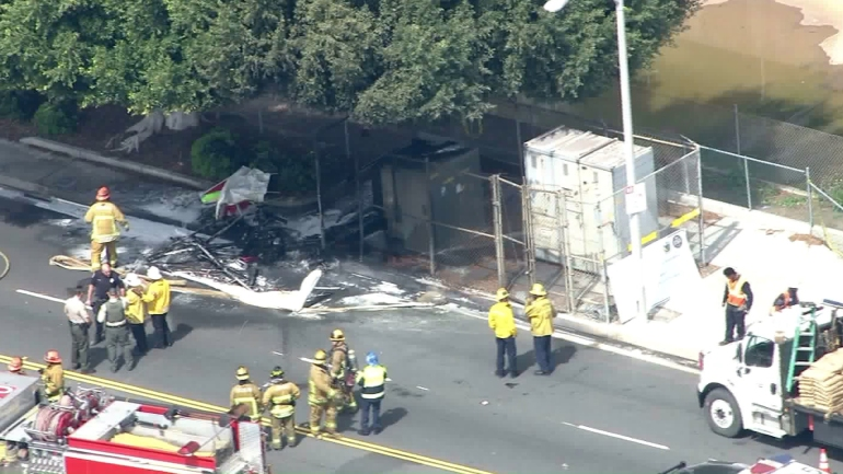Firefighters responded to the crash of a small plane near Hawthorne airport on March 21, 2016. (Credit: KTLA)