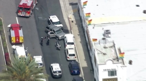A police SUV appeared to have crashed a few blocks west of a plane crash in Hawthorne on March 21, 2016. (Credit: KTLA)