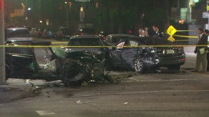 Four people were injured in a violent multivehicle crash that prompted the closure of an East Hollywood intersection on March 21, 2016. (Credit: KTLA)