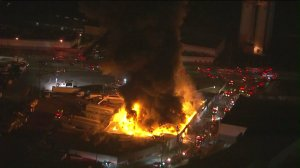 The fire was burning at a sing-floor building on Soto Street in Boyle Heights. (Credit: KTLA)