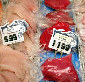 DES PLAINES, IL - DECEMBER 12: Fresh tuna steaks are displayed at a seafood counter in a grocery store December 12, 2003 in Des Plaines, Illinois. The Food and Drug Administration's Food Advisory Committee plans to caution pregnant women, nursing mothers, women who may become pregnant, and young children to limit their intake of tuna, such as fresh tuna steaks because of their higher levels of mercury. (Photo by Tim Boyle/Getty Images)