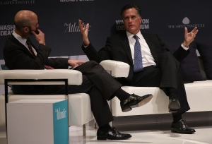Former Republican presidential candidate Mitt Romney (R) speaks at the Washington Ideas Forum with James Bennet (L), of The Atlantic, Sept. 30, 2015 in Washington, DC. (Credit: Win McNamee/Getty Images)