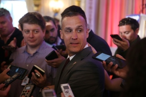 Corey Lewandowski campaign manager for Republican presidential candidate Donald Trump speaks with the media before former presidential candidate Ben Carson gives his endorsement to Mr. Trump at the Mar-A-Lago Club on March 11, 2016 in Palm Beach, Florida. (Credit: Joe Raedle/Getty Images)