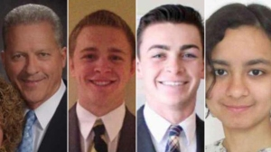 Richard Norby, Mason Wells, Joseph Empey, and Fanny Rachel Clain, left to right, are shown in photos provided by the LDS Church on March 22, 2016, when they were injured in a explosion at the Brussels airport.