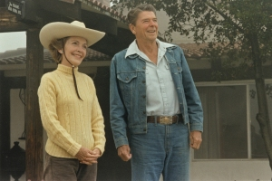 President and First Lady Nancy Reagan enjoying their time away from Washington, DC, in front of their Ranch house at Rancho del Cielo in Santa Barbara on August 13, 1981. (Credit:The Ronald Reagan Presidential Library and Museum)