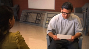 Carlos Adrian Vzquez Jr., 18, reads the letter he wrote to Pope Francis. (Credit: CNN)