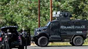 Redlands police officers were at the scene of a hostage standoff on Thursday, March 24, 2016. (Credit: Southern California News Group)
