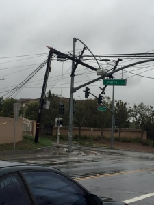 A photo showing a tangle of downed power lines in Riverside was provided to KTLA by Brandon Campbell on March 11, 2016.