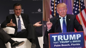 Mitt Romney speaks at the Washington Ideas Forum on Sept. 30, 2015, left. Donald Trump speaks at his Mar-A-Lago Club on Super Tuesday, March 1, 2016, in Palm Beach, Florida. (Credit: left, Win McNamee/Getty Images; right, John Moore/Getty Images)