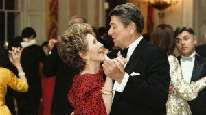 Former U.S. President Ronald Reagan dances with former First Lady Nancy Reagan in this undated file photo. (Photo courtesy of the Ronald Reagan Presidental Library/Getty Images)