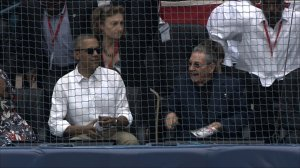 Presidents Barack Obama and Raul Castro before the baseball game between the Tampa Bay Rays and the Cuban National Team in Cuba on March 22, 2016. (Credit: Pool)