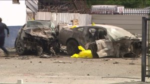 Two people were killed when a driver allegedly ran a red light and crashed into another car in San Bernardino on March 28, 2016. (Credit: KTLA)