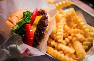 A burger at Shake Shack is pictured. (Credit: m01229 / Flickr via Creative Commons)