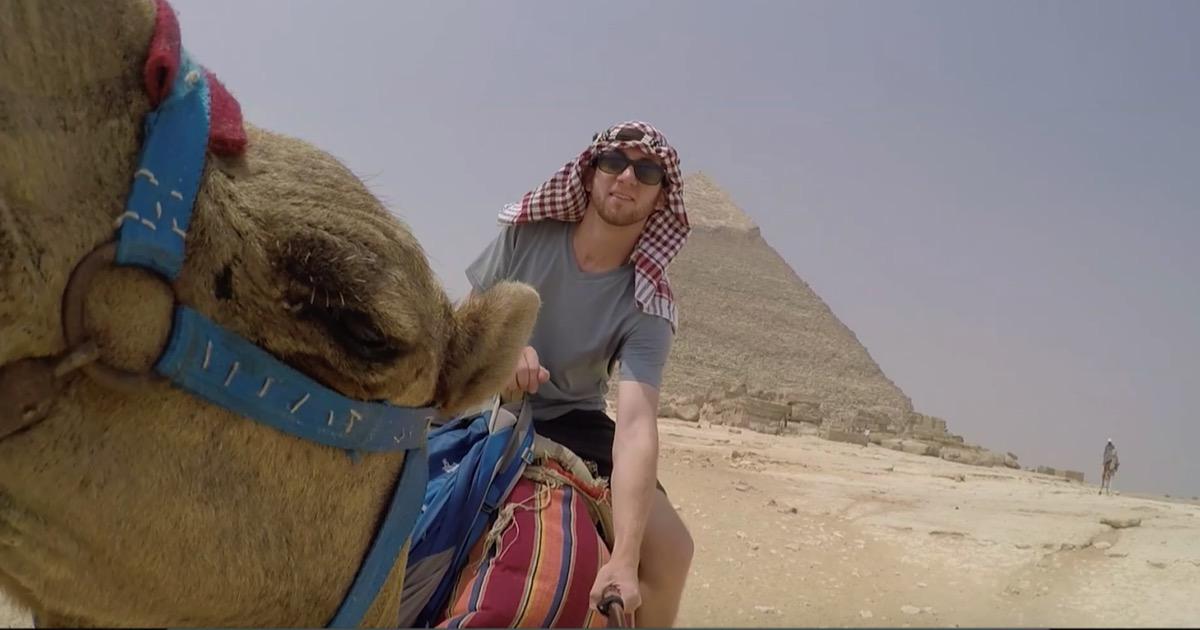Snapchatter Drew Binsky on a camel