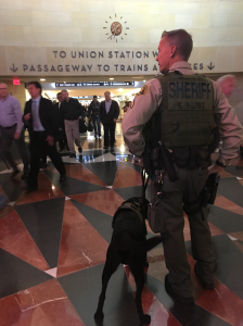 An increased presence of law enforcement officials were sent to Union Station following deadly attacks in Brussels on March 22, 2016. (Credit: Mark Mester/KTLA)