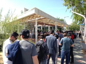 Dozens of people lined up outside Shake Shack when the popular burger chain made its West Hollywood debut on March 15, 2016. (Credit: KTLA)