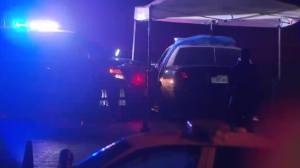 Officers were involved in a fatal shooting in Glendale Sunday night after someone stole a police cruiser and led authorities on a pursuit. (Credit: KTLA)