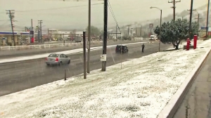 Snow is seen on the ground in Frazier Park on March 7, 2016. (Credit: KTLA)