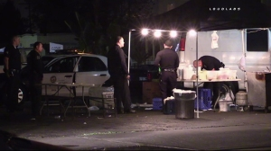 An attempted robbery ended with a man being shot by a taco stand employee on March 25, 2016, according to police. (Credit: Loudlabs)