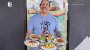 Danny Trejo is seen in a promotional image for Trejo's Tacos.