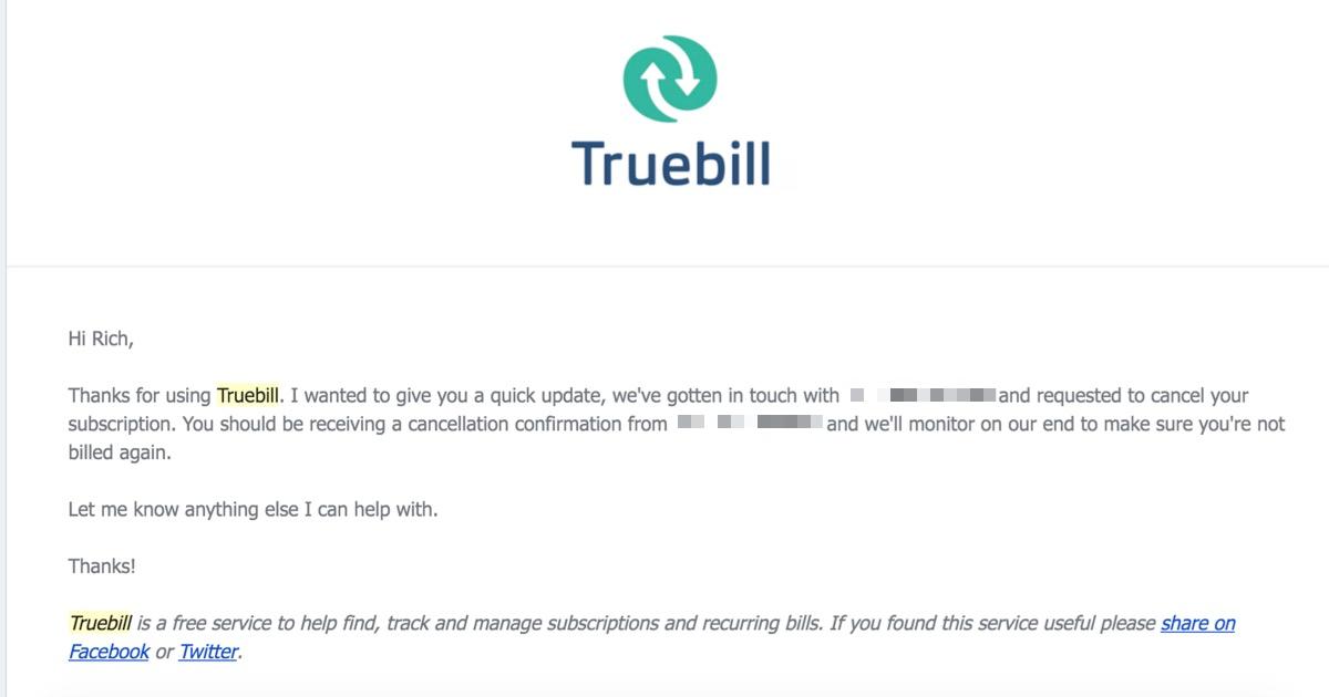 truebill helps cancel gym membership free