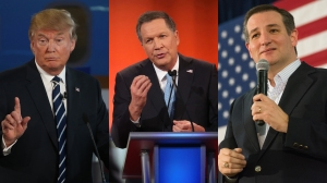 Donald Trump, John Kasich and Ted Cruz are the final remaining three Republican presidential candidates left in the 2016 race. (Credit: Justin Sullivan/Getty Images, Scott Olson/Getty Images, David Calvert/Getty Images)