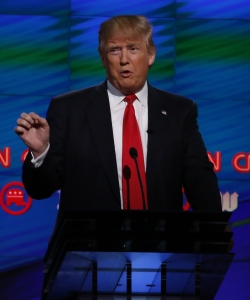 Republican presidential candidate Donald Trump speaks during the CNN Debate in Miami on March 10, 2016. (Credit: RHONA WISE/AFP/Getty Images)