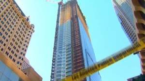 The Wilshire Grand Center is shown on March 17, 2016, after a construction worker fell from the 53rd floor. (Credit: KTLA)