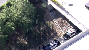 LAPD officers respond to the discovery of a female body next to the 110 Freeway in South L.A. on April 5,m 2016. (Credit: KTLA)