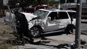 A 20-year-old woman was arrested on suspicion of murder in a crash that left a father dead on April 17, 2016, according to LAPD. (Credit: First In)