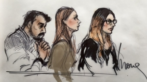 Three people connected to San Bernardino shooter Syed Rizwan Farook appear in federal court in Riverside on April 28, 2016. (Credit: Mona S. Edwards)