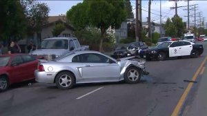 A Ford Mustang was among nine vehicles involved in a chain-reaction crash in Valley Glen on April 30, 2016. (Credit: KTLA)