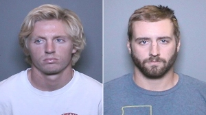 Richard Melbye, left, and Steven Koressel are shown in booking photos released by Orange police April 19, 2016.