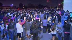 Hundreds of mourners gathered in Colton on April 13, 2016, to remember Dominick Gallegos. (Credit: KTLA)