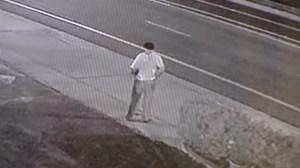 Surveillance video provided to KTLA showed a stabbing victim outside a Costa Mesa motel on April 18, 2016.