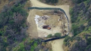 The site of a controversial basketball court planned for Runyon Canyon Park is seen on April 19, 2016. (Credit: KTLA)