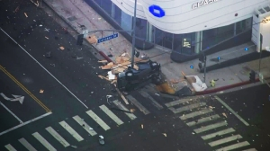 One person was killed when a car crashed into a utility pole in West Hollywood Thursday morning. (Credit: KTLA)